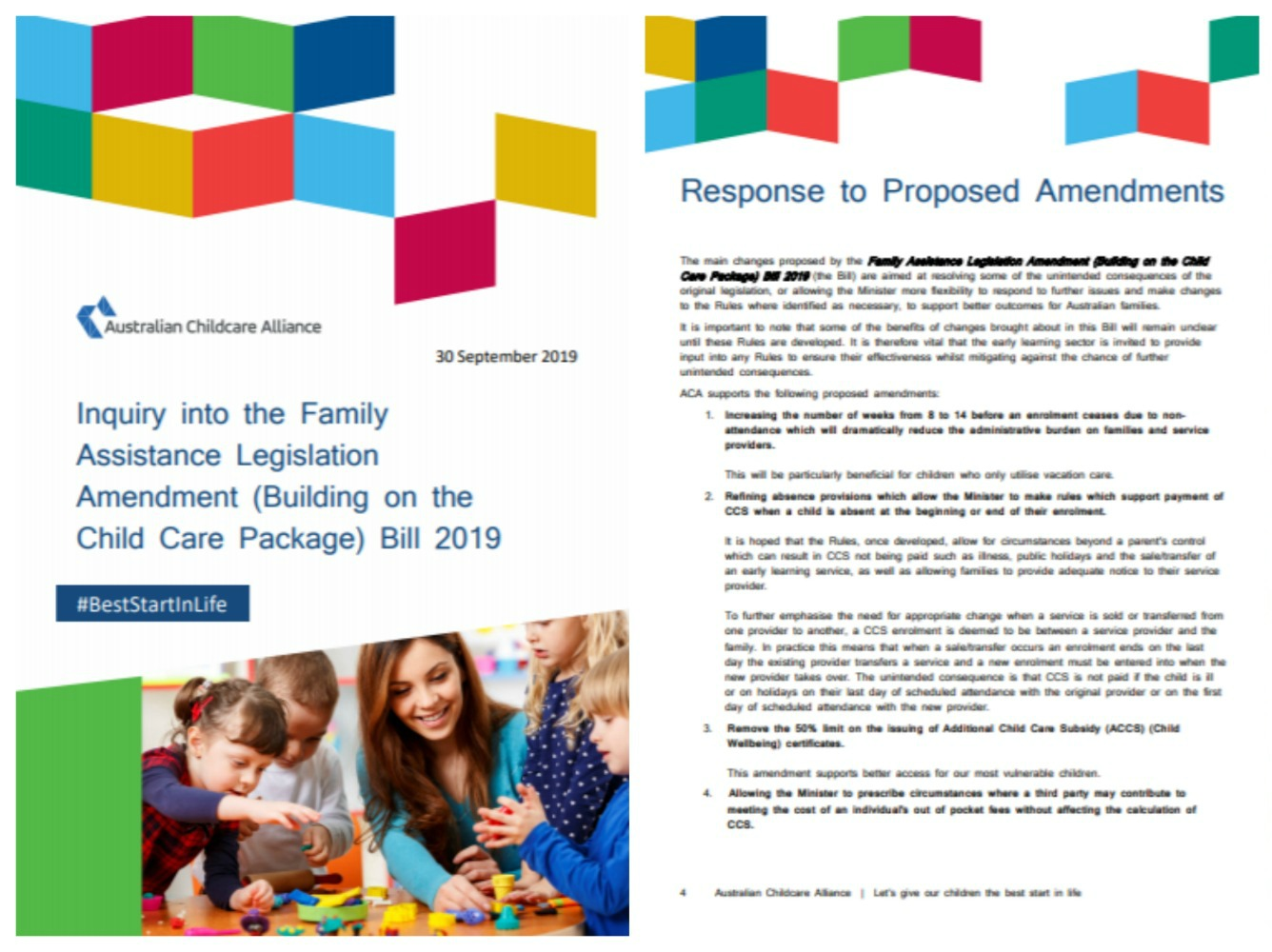 ACA Response to Inquiry into Child Care Package (Child Care Subsidy)